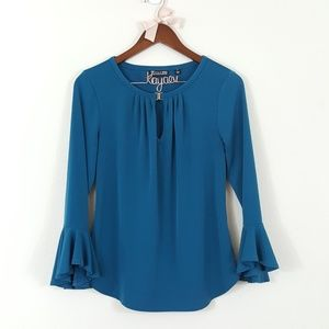 7th Avenue NY & Co Teal Keyhole Bell Sleeve Blouse